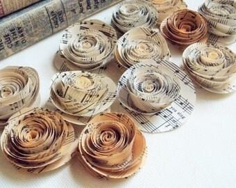 Paper flowers for weddings, Sheet music flowers, paper flowers, paper roses, vintage wedding, wedding decor