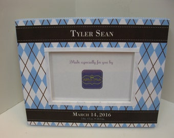 Baby Boy Birth Announcement Argyle Frame with Light blue and Brown