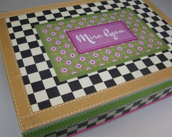 Checks and Dots Personalized Keepsake Box 2