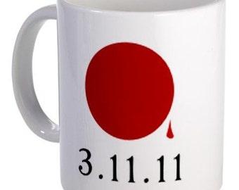 SUPPORT JAPAN Earthquake Tsunami Survivors Flag 11oz Ceramic Coffee Cup Mug