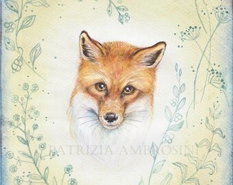 "ON SALE__ 8""X10"".. .. portrait of fox with floral decorations original art.. decor  -baby room -playroom  baby wall art - childrens -"