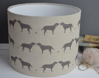 Labrador & Hearts Linen Drum Lampshade