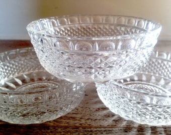 Set of THREE Cut Glass Crystal Dessert Bowls