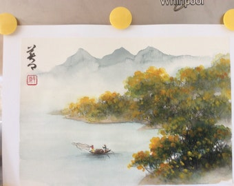Original Chinses Painting-Natural Scenery(Cloudy Scenery and Fishermen)