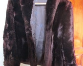 Vintage 1950's Rich Mahogany Brown Mouton Shearling Jacket Size M