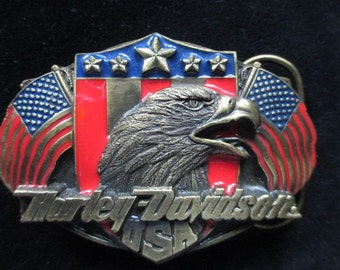 New Vintage Harley Davidson Siskiyou Eagle & Flags Belt Buckle 1989 Harmony D-88