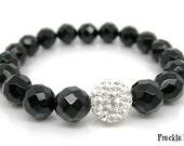 Bracelet / Wrist Mala Faceted Black Onyx with Silver Shambala Bead - Christmas Jewellery
