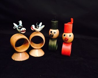 Vintage Wooden Figural Napkin Rings Two Clowns Two Bobble Head Cows