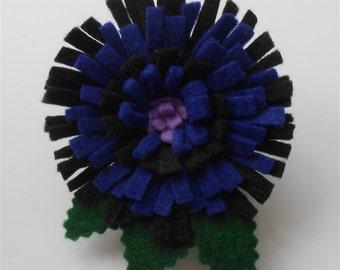 Wool Felt Pin, Felt Flower Brooch, Blue Black Pins, Boho Felt Pins Felt Wool Jewelry Boho Rustic Pins Brooches