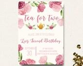 Tea for Two Birthday Invitation Tea Party Invitation Floral Pink Watercolor DIY Printable