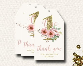 Favor Tags Girls Birthday Boho Chic Printable PDF File