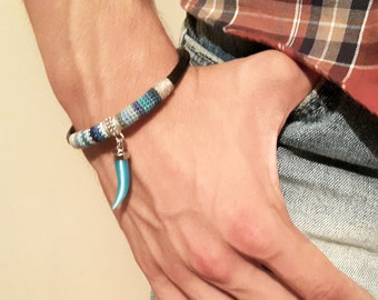 Men's Horn Charm Bracelet, Leather and Crochet Bracelet For Men, Blue Shades Bracelet, Tribal Mens Bracelet, Gift For Man