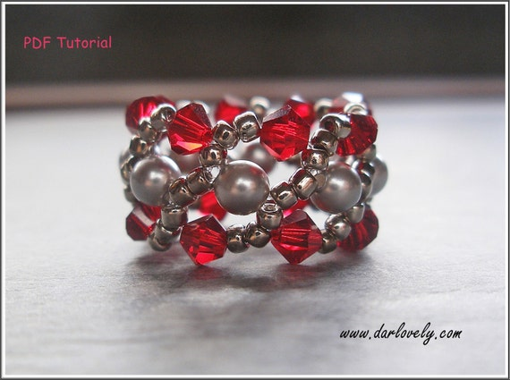 Beaded Ring Pattern - Red Grey Pearl Cuff Ring (RG125) - Beading Jewelry PDF Tutorial (Digital Download)