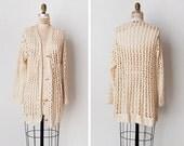 vintage 1970s sweater / 1970s crochet sweater / natural knit cardigan / Akoya sweater