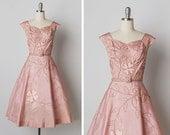 vintage 1950s dress / 50s pink dress / 1950s applique dress / Villa Carlotta dress
