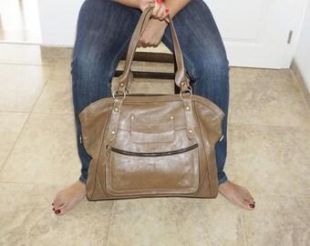 "Dark Taupe Leather Bag Tote Bag Shoulder Cross-body Bag Travel Weekend Bag Magui BIS extra large, fits a 17"" laptop"