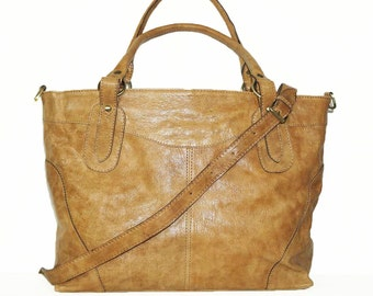 "Light Tan Leather Handbag Tote Cross-body Bag Nora Bis fits a 17"" Laptop"