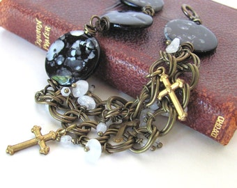 Religious jewelry unusual cross bracelet Christian jewelry religious bracelet cross jewelry unique jewelry SILENT NIGHT