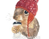 Coffee Squirrel - 8x10 Watercolor PRINT, Squirrel in a Hat, Coffee Illustration, Animal Watercolour