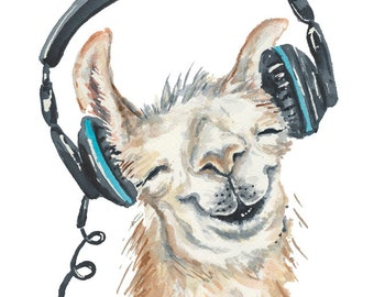 Llama Watercolor Painting - 8x10 Watercolour PRINT, Music Lover, Nursery Art, Animal Illustration