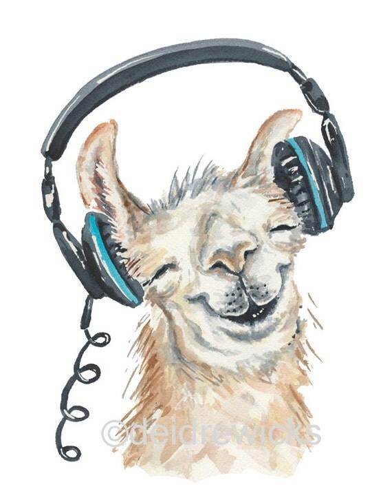 Llama Watercolor Painting 8x10 Watercolour PRINT Music