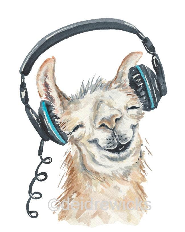 Llama Watercolor Painting 8x10 Watercolour PRINT Music Raccoon Drawing Easy