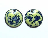 Enameled copper charms Jewelry making supplies Blue and chartreuse enamel earring charms Artisan earring component Earring findings