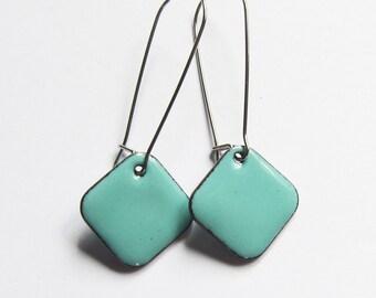 Aqua enamel geometric earrings Simple colorful surgical steel earrings Minimalist jewelry Seafoam green dangle earrings Black Red Cream Blue