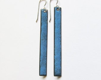 Denim blue bar dangle earrings Long stick minimalist earrings Enamel modern jewelry
