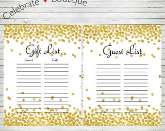 Gift list etsy gold polka dots guest list sign in gift list bridal shower baby shower birthday pronofoot35fo Images