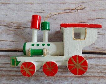 Vintage Wooden Ornament / Choo Choo Train / Vintage Christmas