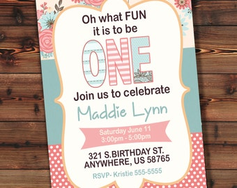 Girl 1st Birthday Invitation