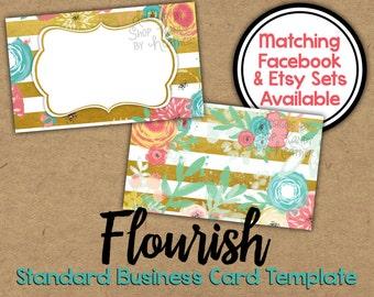 Floral Glitter Business Card Sided Glitter Chevron - Vista print templates business cards