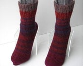 SALE UNIQUE Hand Knit Seamless Wool ART Socks in Purple Wine/ Thoughtful Gift / Gift for Mom