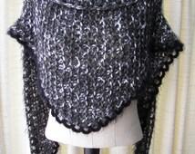 Hand Knit COZY SOFT Shawl Triangle Scarf Wrap in BLACK Angel Hair/ Gift under 50 dollars /  Bridal wrap shawl