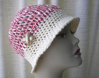 Hand crochet Mercerized Cotton Hat in Cream Red/ Natural fiber hat / chemo cotton hat