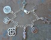 Celtic symbols silver charm bracelet - celtic knot, tree of life, celtic cross, heart, and goddess charms - free USA shipping