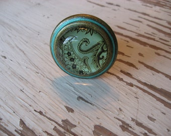 2 Paisley Glass Knobs in Aged Brass with Custom Metallic Aqua Blue Ring Paisley Brass Glass Knobs  B-30