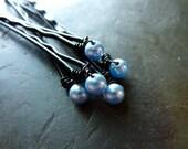 4mm Light Blue Swarovski Pearl Bobby Pins - Set of 5