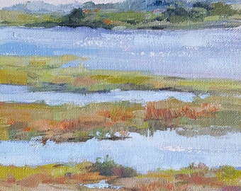 "Oil Painting Plein Air Back Bay, Newport Beach Calif. 6""x 6"" Seashore Marsh SALE"