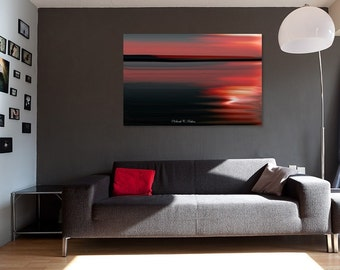 Dramatic Wall Decor-Abstract Red Art-Landscape-Sunset-Motion-Blur-Statement Art-Fine Art-Gallery Canvas Wrap-Horizontal Canvas-Red-Black