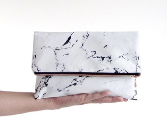 MARBLE clutch // marble bag wristlet rosegold coppr zipper white marble by renna deluxe