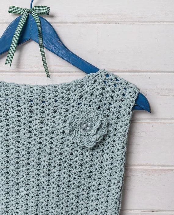 Ice blue simple crochet lace top vest crochet pattern by Liz