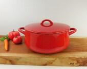 Red Dansk Bistro Enamelware - 5 QT Dutch Oven Pot Covered Casserole
