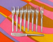 9 pcs. Towle Supreme Cutlery INGRID - Japan Stainless Flatware Dinner Fork Knife - Danish Mid century Modern Style