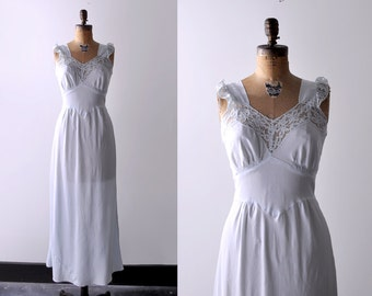 1950's negligee. blue. 50 m nightgown. maxi. long. lace. rayon. 50's light blue negligee.
