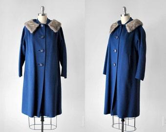 60's blue coat. wool. 1960's mink collar coat. winter. royal blue. shift. silver. 60 coat L.