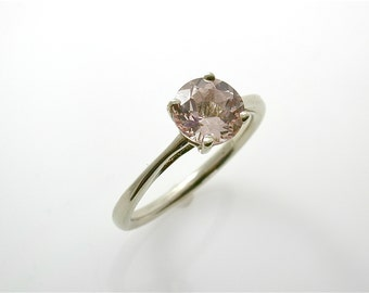 Pink Morganite Solitaire 14 KT, Custom Order Modern Engagement Ring, March Birthstone, Diamond Alternative Simple Solitaire, Soft Pink Peach