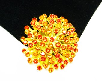 Yellow & Orange Mod Brooch - Explosion of Rhinestones - Enamel Yellow / Orange Rhinestones Atomic Pin - Mid Century Mod Jewelry 1960s 1970s