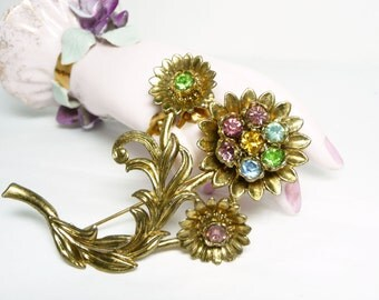 Thistle Flower Brooch - Little Nemo Rhinestone Pin - Large Floral Vintage Style Jewelry